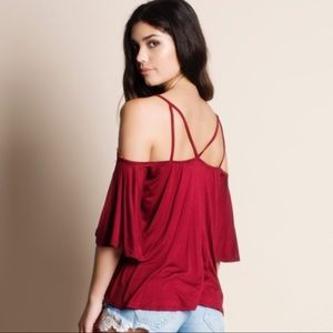 NEW COLD SHOULDER STRAPPY TOP SIZE: SMALL